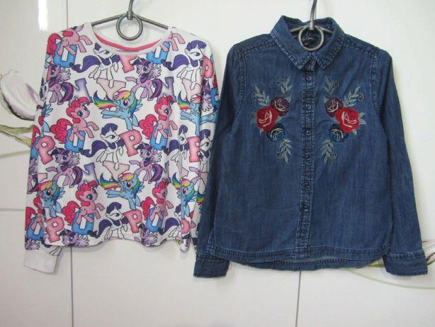 Нарядная джинсовая рубашка с вышивкой нашивками свитшот кофта 8-9 лет