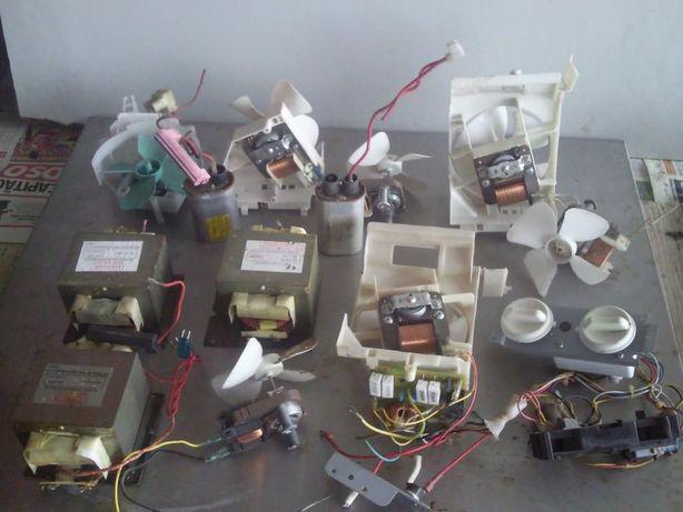 Transformadores, capacitores, ventoinhas, para microondas