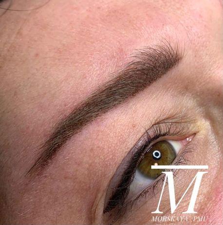Перманентный макияж, татуаж, пудровые брови, акварельные губы 500 грн