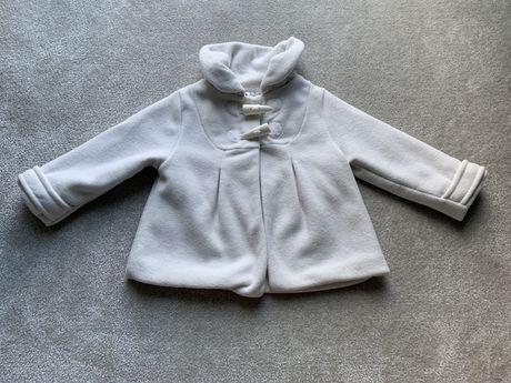 Płaszcz płaszczyk kurteczka 92 chrzest biały next kwiatki ubranka