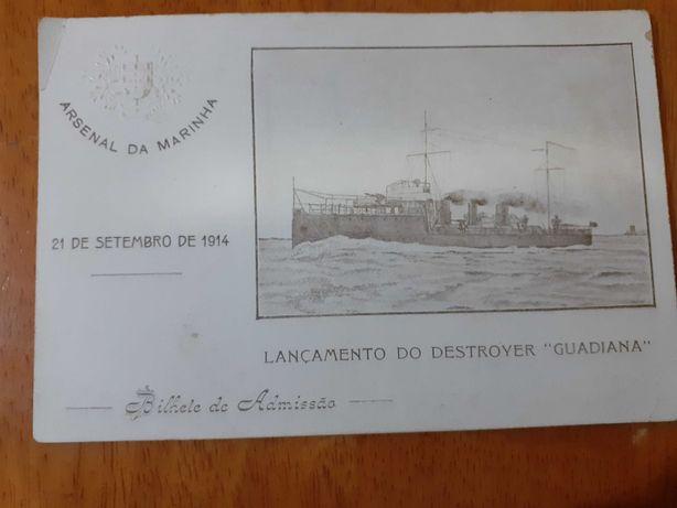 convite da marinha do lançamento do navio destroyer 1914