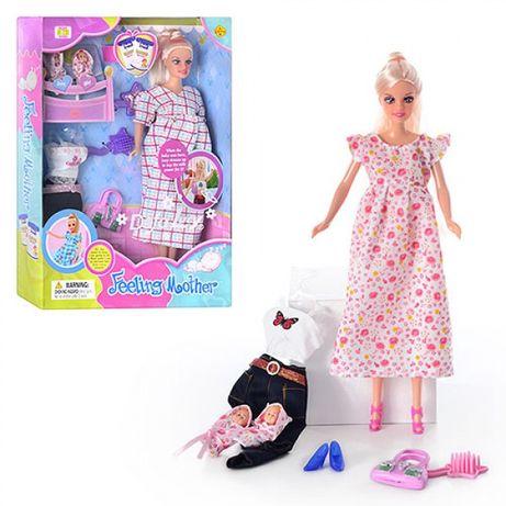 Кукла DEFA беременная + 2 ребенка, аксессуары 8009 + коляска + кен