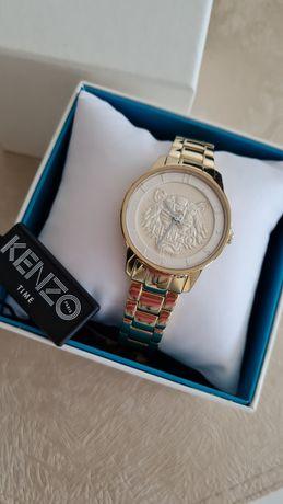 KENZO oryginalny zegarek damski złota bransoleta tygrys logo