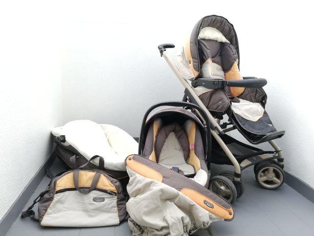 OPORTUNIDADE - Carrinho de bébé + ovo + alcofa + proteção + saco