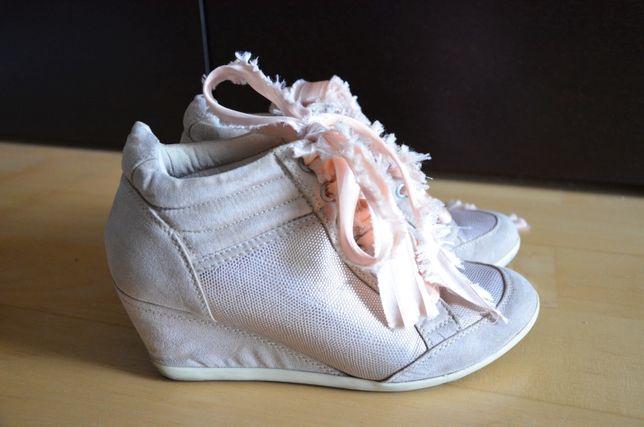 Sneakersy botki na platformie platforma pudrowy róż koturn 39 40 25 cm