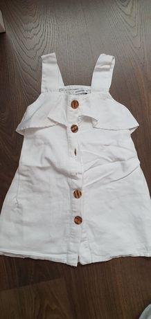 Sukienka na guziki biała lato Reserved r.104