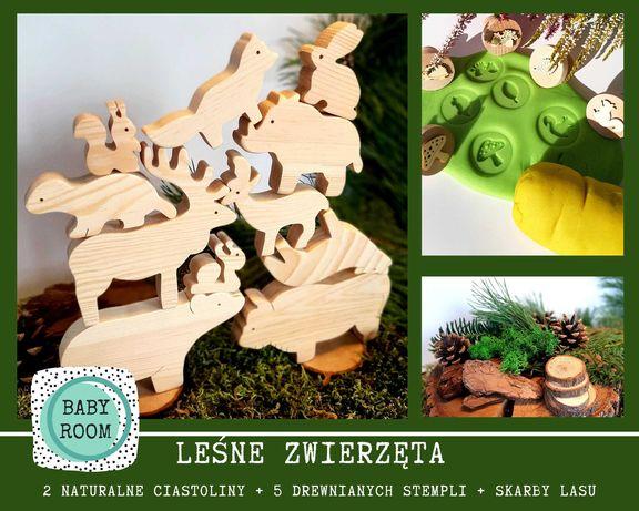 Drewniane zwierzęta leśne z ciastoliną