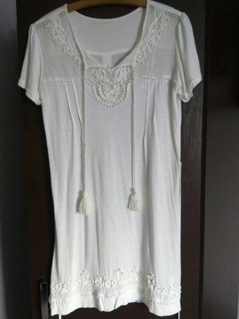 Sukienka boho biała 40/42 chwosty koraliki tunika bdb stan