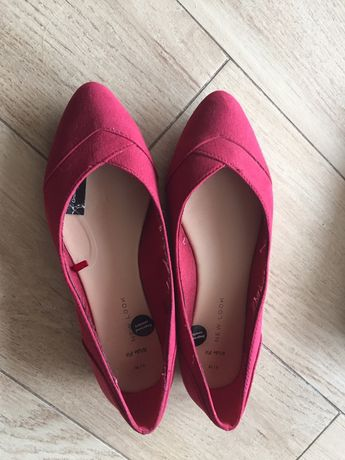Nowe zamszowe buty pantofle czółenka baleriny 38 bordo New Look
