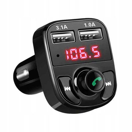 Transmiter Bluetooth FM MP3 SD Ładowarka samochodowa 2xUSB głośnomówią