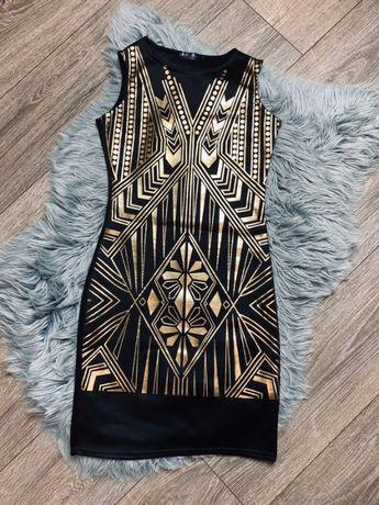 Sukienka czarna złota sylwestra xs