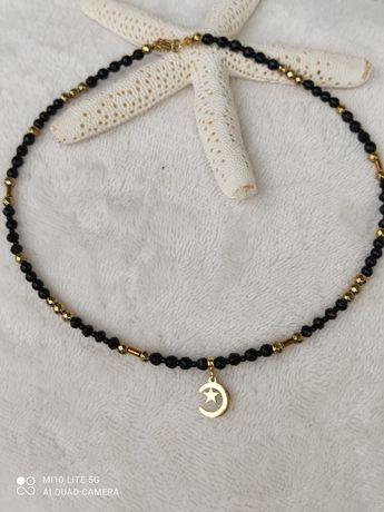 Naszyjnik czarny z kamieni naturalnych handmade