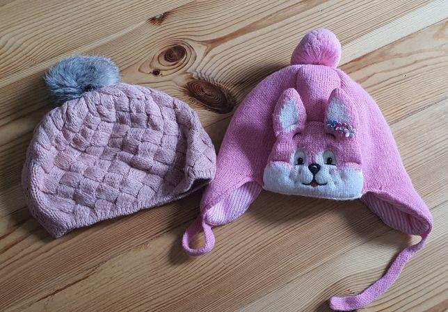 Dwie czapki dla dziewczynki 1-2 lata