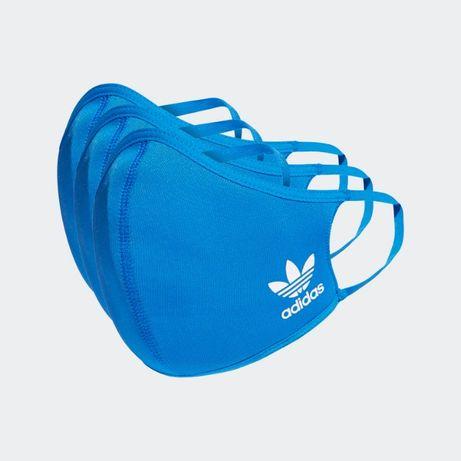 Maseczki adidas niebieskie trójpak xs/s m/l