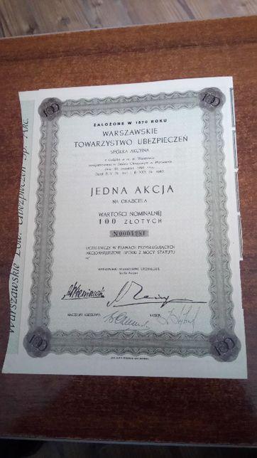 Stary dokument, akcja na 100 złotych 1931