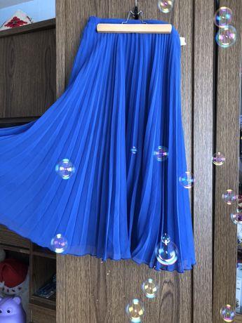 Юбка плиссе , ниже колен , синяя