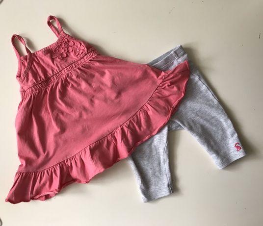 Sukienka + spodnie; zestaw wiosenno/letni; 3-6 m-cy; 62-68 cm