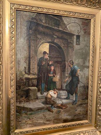 Antyczna scena XIX wiek malarstwo inwestycja staroć antyk