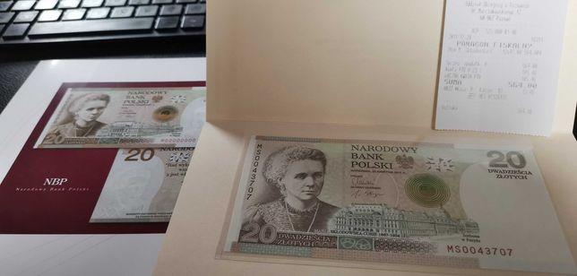 Banknot kolekcjonerski 20zł Maria Skłodowska-Curie stan UNC