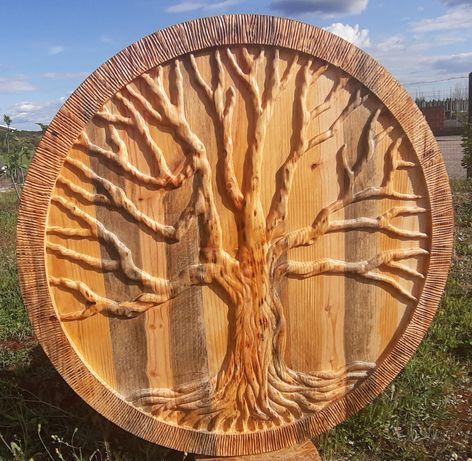 Quadro árvore da vida esculpido em madeira no mais puro estilo rustico