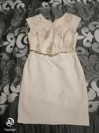 Kremowo - złota Sukienka rozmiar 42