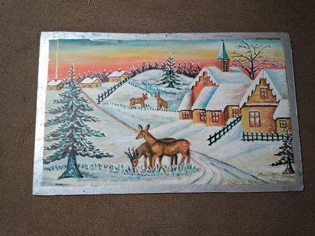 Obraz zima pejzaż sarny śnieg domy