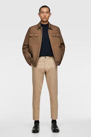 Spodnie chinos o krótszym kroju beż ZARA r 40 1x ubrane j NOWE