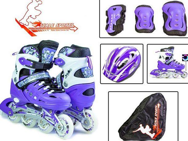 Комплект детских Раздвижных Роликовых Коньков Scale Sport с защитой