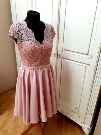 Przepiękna sukienka- Pudrowy róż r. 40 nowa z metką Wesele