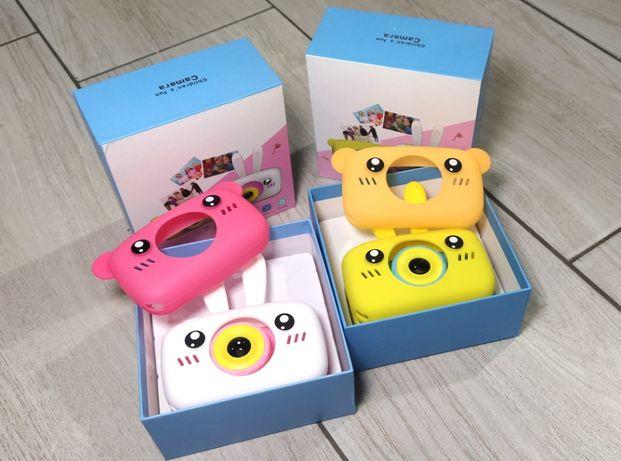 Детская цифровая мини фото камера. Фотоаппарат с чехлом зайчик / мишка