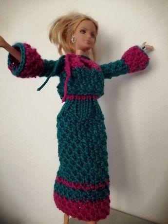 Ubranko spódnica bluzka komplet dla lalki Barbie rękodzieło z włóczki