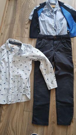 Koszula spodnie kamizelka  garnitur 134