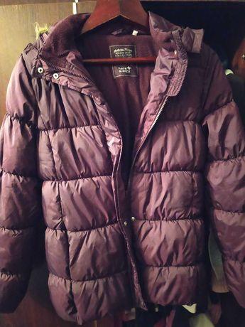 Курточка женская фиолетовая с мехом на капюшоне