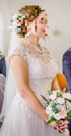 Suknia ślubna - pudrowy róż, naszyjnik GRATIS!