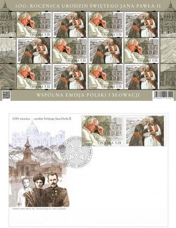Arkusik -5055 i FDC ,100rocznica urodzin Jana Pawła II-wydanie polskie