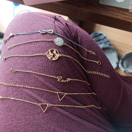 Zestaw biżuterii, kolczyki, łańcuszek, bransoletka