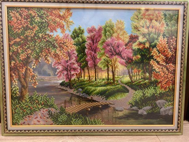 Картина вишита бісером «Осінь»