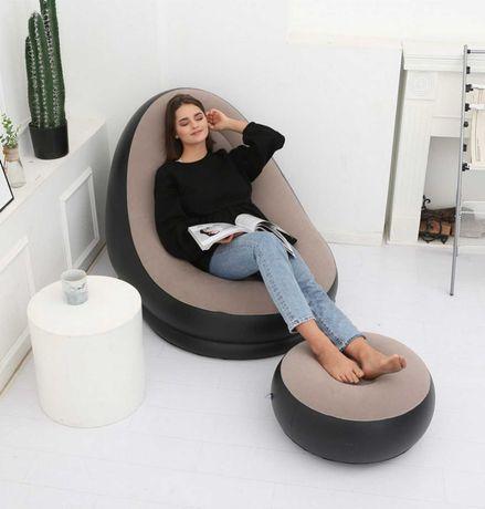 Комплект кресло и пуф надувные плюшевые мягкие