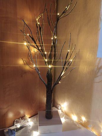 Лед дерево новогоднее светильник на батарейках 20лед  60см melinera
