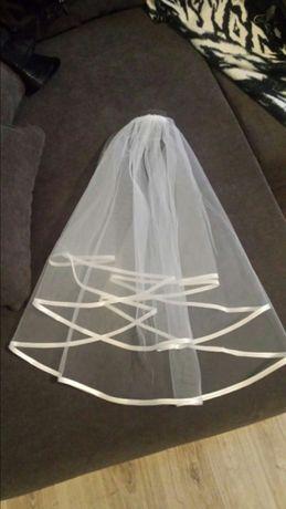 Nowy welon ślubny ecru z atlasową lamówką