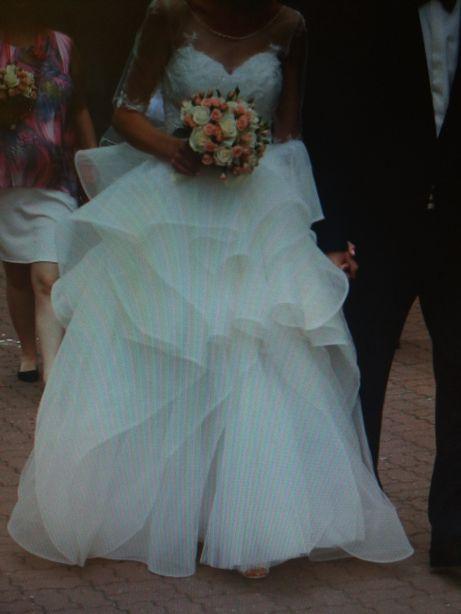 Suknia ślubna rozm. 36/38 krótka mini sukienka ze spódnicą na rzep