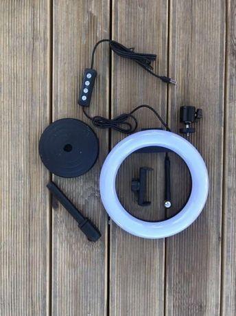 Лампа кольцевая 16 см на круглом штативе с держателем для смартфона