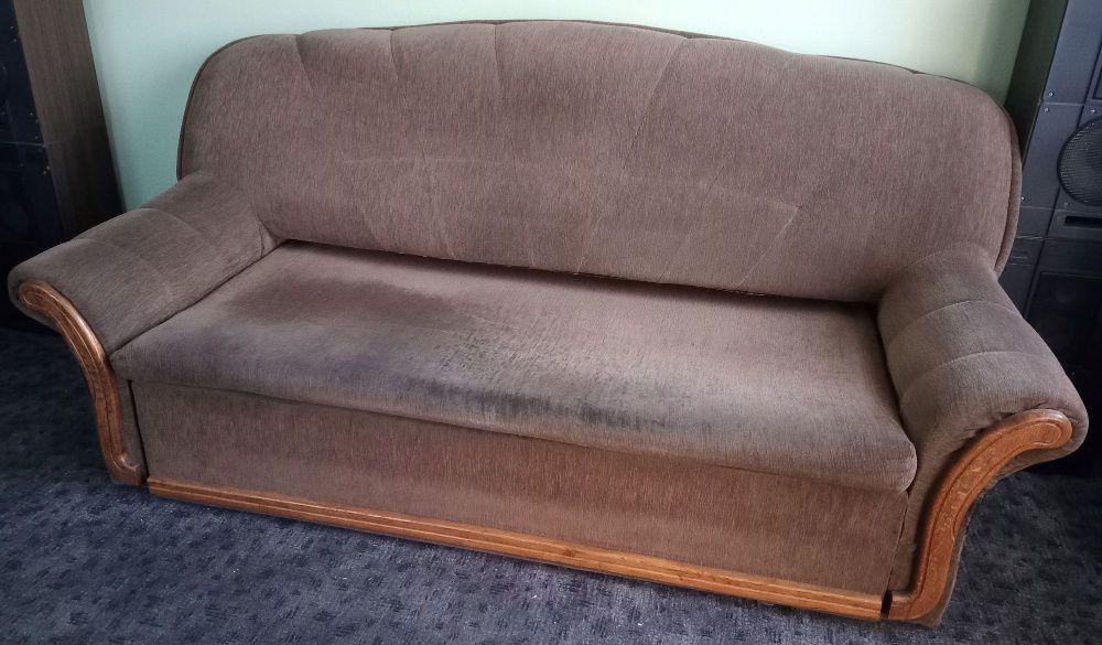 Kanapa sofa wersalka rozkładana, 3-osobowa z funkcją spania, brązowa