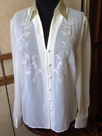 Блуза-блузка-рубашка Marks & Spencer (шифон+атлас) школьная форма