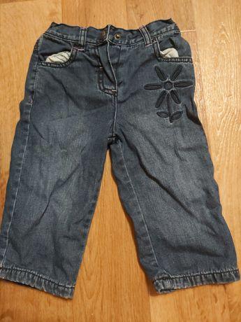 Джинсы штаны для девочки на х/б подкладке 6-9мес