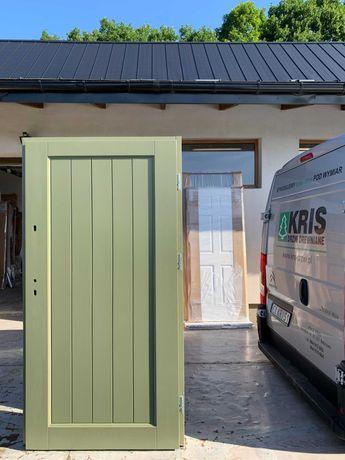 Drzwi zewnętrzne drewniane zielone OD RĘKI DOSTAWA CAŁA POLSKA