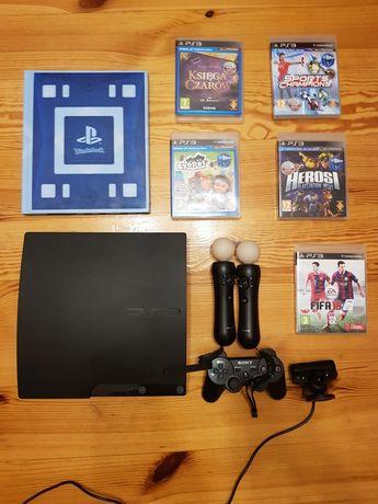 PlayStation 3 ps3 slim 160GB + move + księga czarów + gry