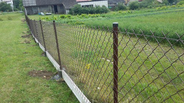Kompletne ogrodzenie 170cm siatka ogrodzeniowa 150cm podmurówka 20cm