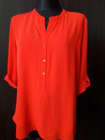 lekka zwiewna intesywnie czerwona bluzka C&A duża na wysoką