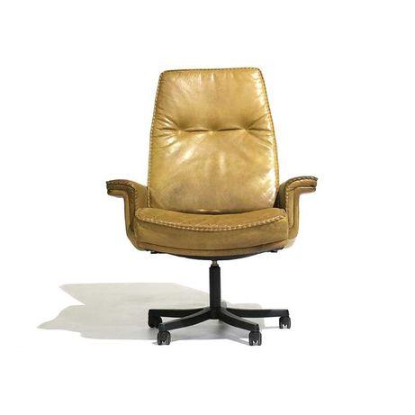 Cadeira de escritório da década de 1980 em couro | Cadeira Giratória